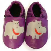 leather slippers purple