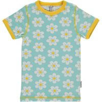 MM Kurzarm-Shirt Flower türkis/gelb, BIO