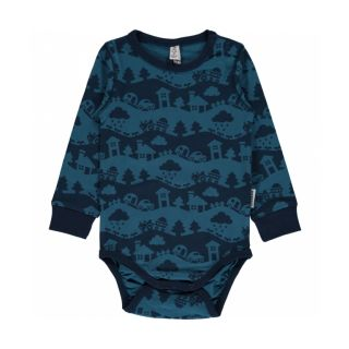MM Langarm-Body blue Landscape , Bio 50/56 (0-3M)